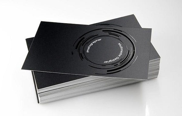 black glossy business cards