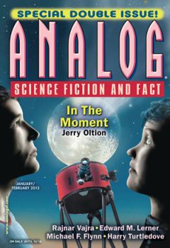 Cover by David A Hardy of Analog Science Fiction and Fact magazine, January-February 2013 issue. Cover illustrates the story In the Moment by Jerry Oltion, a young romancing couple watching, via a telescope on earth, a small celestial body impact moon.