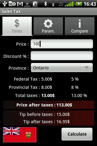 Taxes de vente - screenshot
