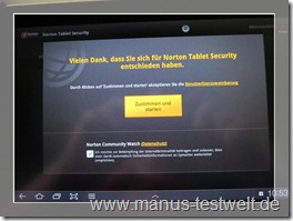 Start und Zustimmung Software Norton