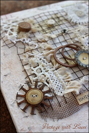 For the love of lace and rust - Mixed Media Collage by Vintage with Laces