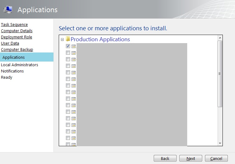 Checking Applications in the MDT Wizard Based on the Task