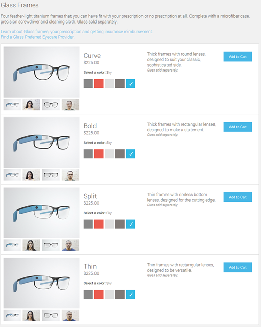 Google Glass Frames Options