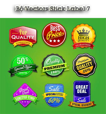Vector - Bộ vectors Stick Label 7 cho AI