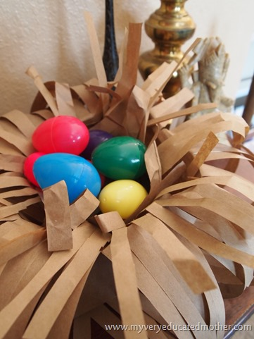 www.myveryeducatedmother.com Paper Bag Bird Nest #craftlightning #kidscraft