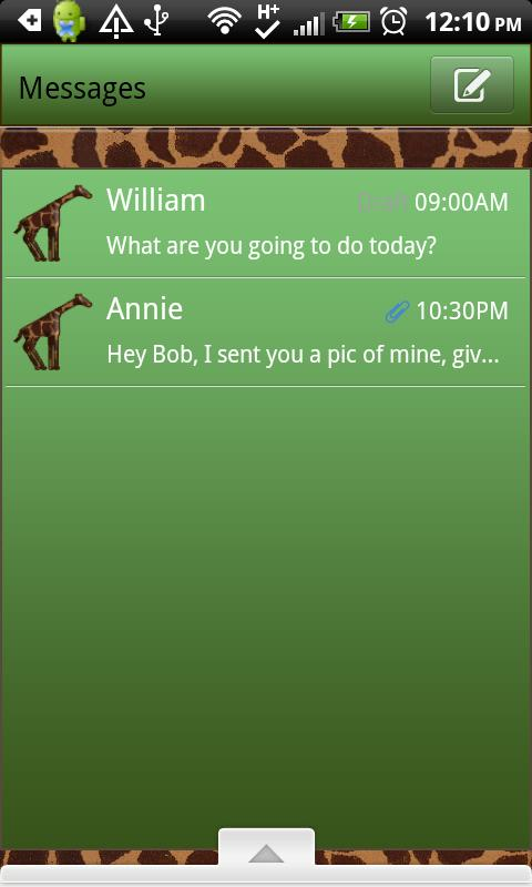 GO SMS THEME/GreenGiraffe- screenshot