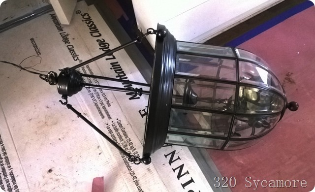 spray painted lantern