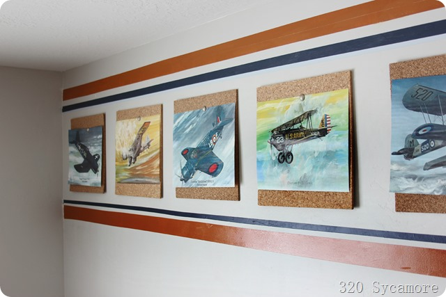 boys room airplane prints with stripes