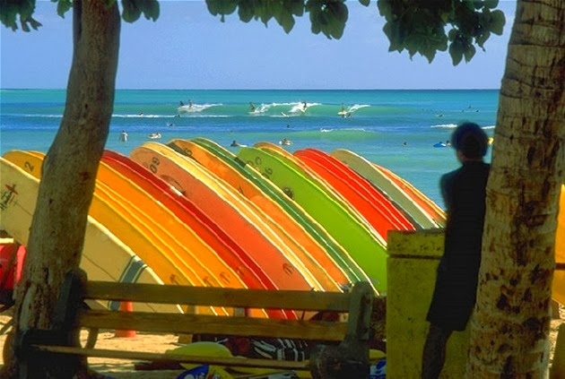 Colorful surfboards and the waves