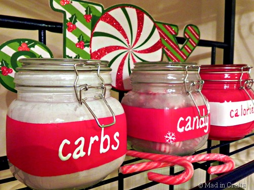 painted christmas canisters