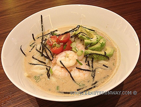 Nana's Green Tea Cafe Japanese restaurant Mentaiko Cream Udon prawns with healthy avocado slices, cherry tomatoes sesame cream seaweed strips Salmon don Matcha Shiratama Float Hoji Chocolate Latte Genmai Cha