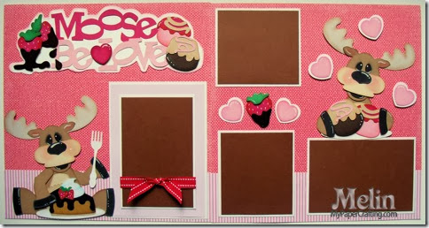 Paper Piecing Scrapbook Layout Moose be love SVG Cut File layout