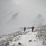 硫黄尾根の終了点から樅沢岳の稜線では2時間近くホワイトアウト