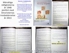 Mänskliga rättigheterna år 1948 jämfört med Amoristernas trosbekännelse år 2013. Med amorism. Komprimerad 3