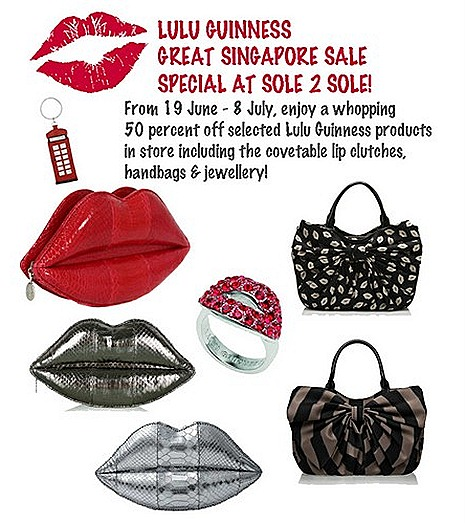 Lulu Guinness Lip clutches bags totes purse leather Spring Summer 2012 umbrella sole 2 sole millenia walk singapore