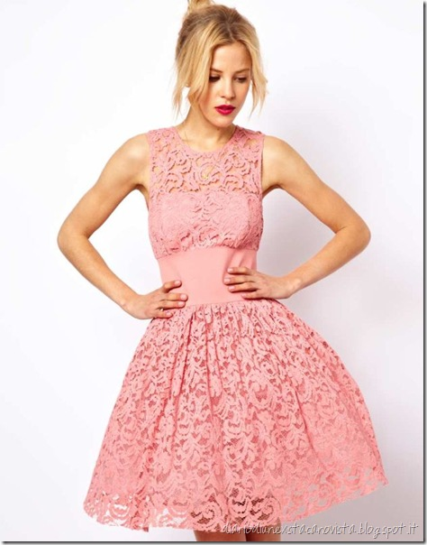 ASOS - Prom dress in pizzo con elastico in vita