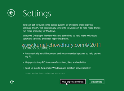 19. Use Express Settings to Configure your Windows 8 Installation