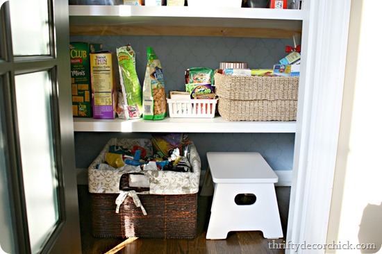 organized pantry with baskets