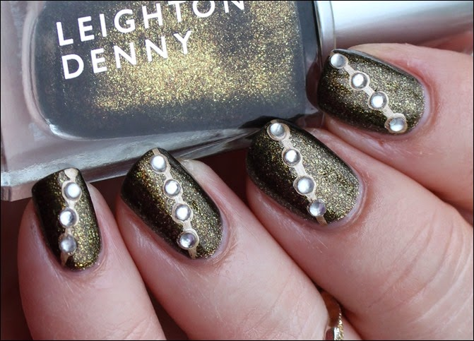 Autumn Nail Art Herbst Nageldesign Gold Bling 09