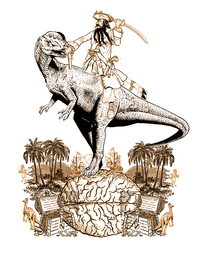 Illustration by Jacey accompanying the online publication of the short story Temporal ventures robbed me by Scott C Mikula by Nature magazine at its website. Image shows a time traveler riding a dinosaur, and illustrates a wish of the protagonist of the story.