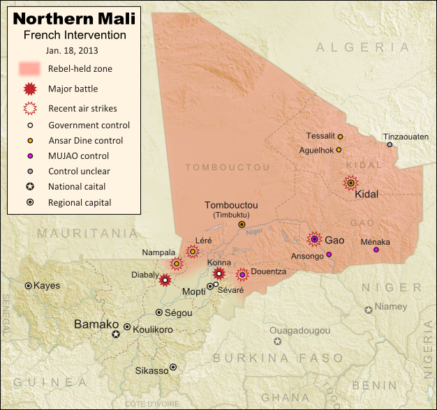 Updated map of fighting and territorial control in Mali during the January 2013 French intervention against the Islamist forces of Ansar Dine and MUJAO. Reflects the Jan. 18 recapture of Konna and Diabaly towns by French and Malian forces.