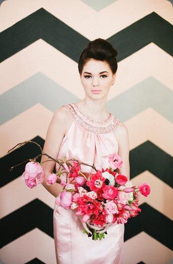 2 chevron pink bride bows and arrows