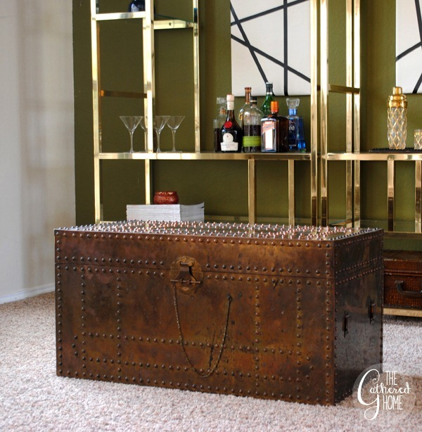 Vintage Brass Etagere & Vintage Brass Trunk
