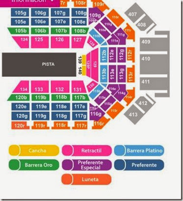Mapa de zonas Arena Monterrey Disney on Ice