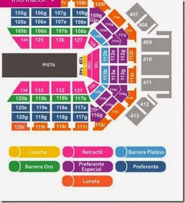 Mapa de zonas Arena Monterrey Disney on Ice