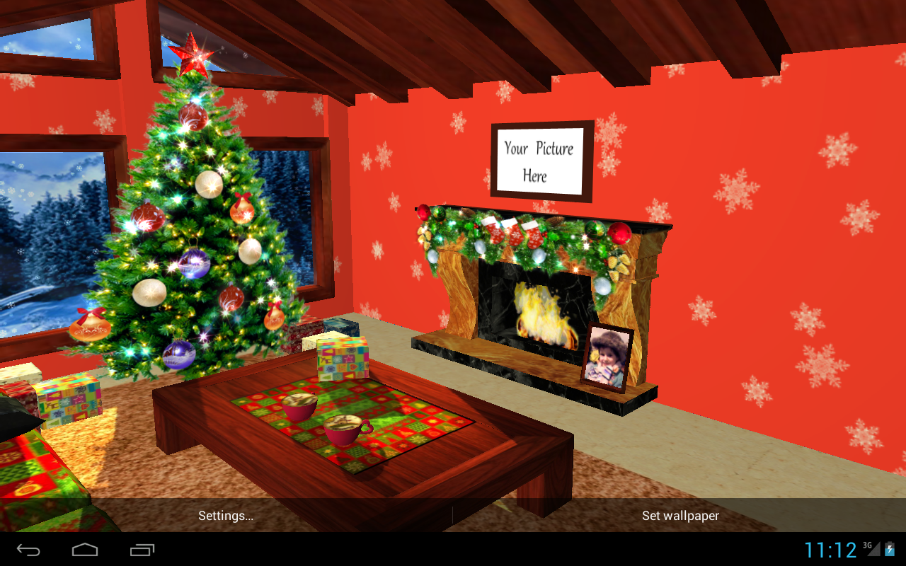 3d christmas fireplace hd live wallpaper full android apps on