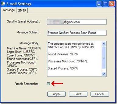 Process Notifier configurare i settaggi email