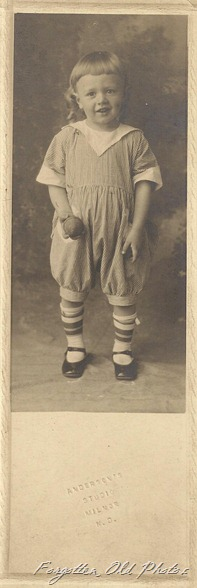 Long Photo Kid with a ball and cute socks Brainerd Antiques