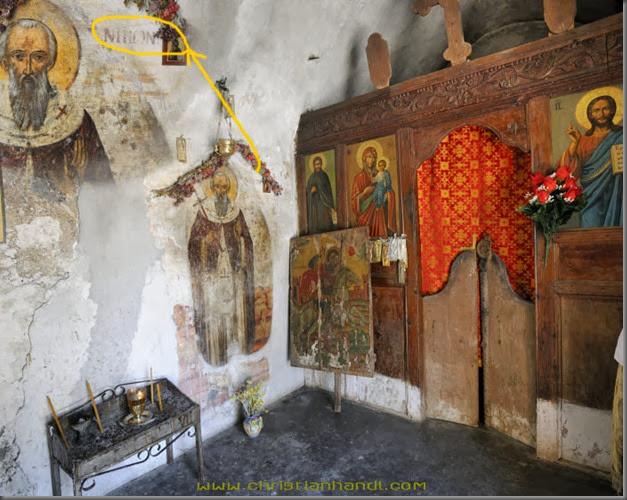 Kirche bei Arnitha Fresken zeigen den hl.Nikon, Rhodos, Griechenland