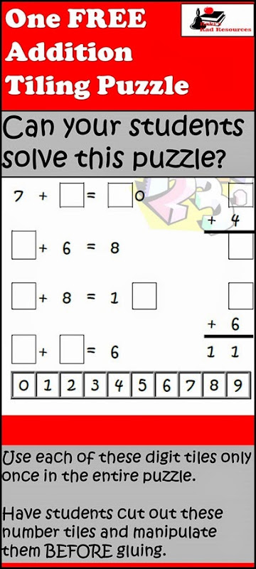 Tiling Puzzle - Addition Practice while also working on problem solving and critical thinking skills.  Free download from Raki's Rad Resources.