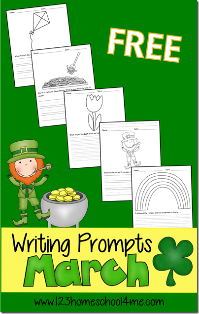 FREE March Writing Prompts - tons of free printable creative writing ideas  for Kindergarten, first grade, 2nd grade, 3rd grade, and 4th grade kids including various types of writing lines - these are perfect for making writing FUN for kids! (St Patricks Day, Spring, Wind, Food, etc.)