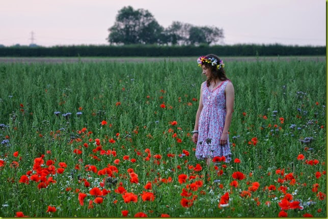 girl standing in poppy field