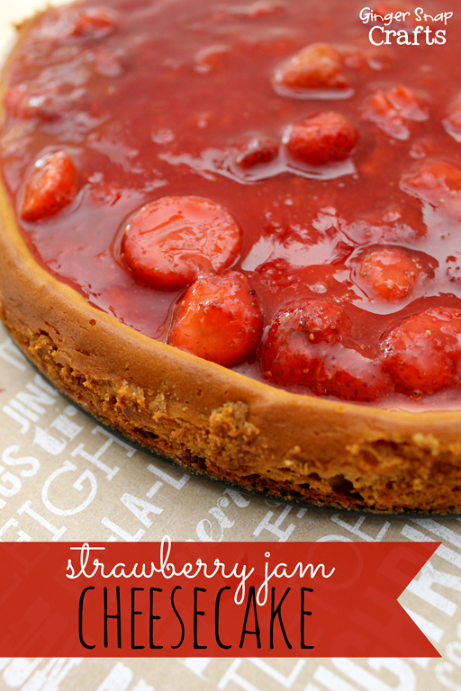 Strawberry Jam Cheesecake at GingerSnapCrafts.com #perfectpie #shop