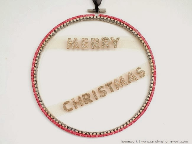 Embroidery Hoop Holiday Wall Hanging via homework | carolynshomework.com