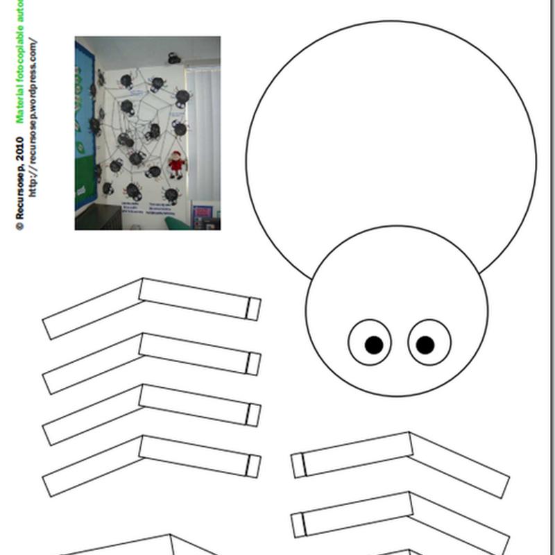 Manualidades araña halloween para imprimir, colorear y armar