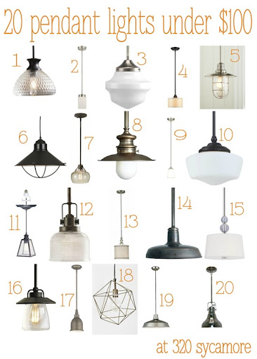 20 pendant lights under $100 -- 320 Sycamore  sc 1 st  320 * Sycamore & 20 great pendant lights under $100 --- kitchen lighting | 320 * Sycamore
