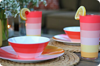 coral striped dishes target