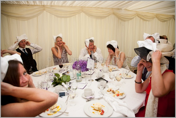 wedding guests in marquee in dollar scotland