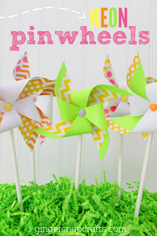 NEON pinwheels at GingerSnapCrafts.com #SilhouetteCameo #SIhouettePortrait #papercraft