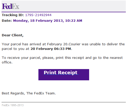FedEx spam loads malware ~ MalwareCleaning