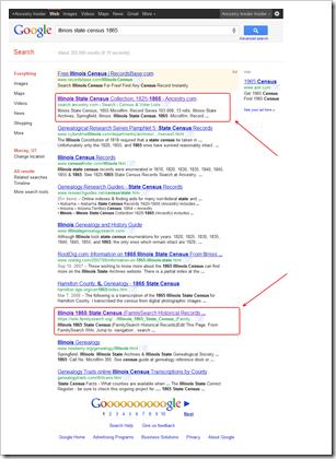 Google搜索结果Plue Accestry.com数据库方式在FriceSearch之上