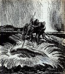Illustration by Schnecmen accompanying the original publication in Astounding magazine of short story Fish Story by Vic Phillips and Scott Roberts. Image shows human hunters fishing a Porgill in a lake on Venus.