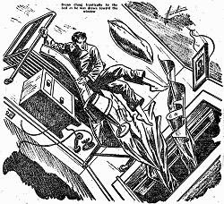 Illustration accompanying the original publication in Startling Stories magazine of short story Dreams End by Henry Kuttner and C L Moore. Image shows the doctor hallucinating or dreaming.