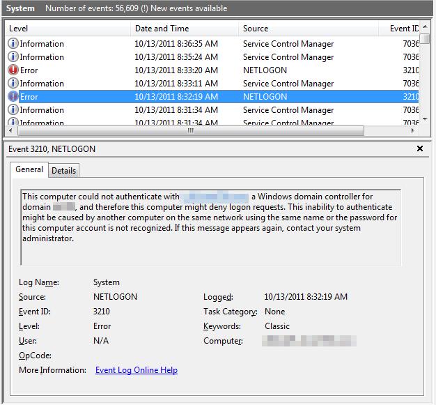 Error Log: Yadyn: NETLOGON Event 3210 And Corrupted Domain