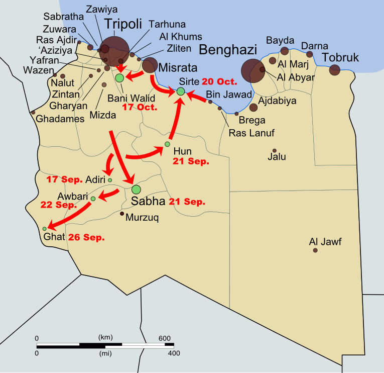 Map of rebel campaigns during the last stage of Libya's 2011 civil war