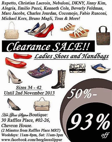 HER GLASS SLIPPER SALE 2013 DESIGNER SHOES BRANDS SINGAPORE MULTI LABEL BOUTIQUE designers ladies stilettoes, bags wallets brands Bruno Magli, Marc Jacobs, Repetto, Emilio Pucci, Tous, Michael Kors, Beverly Feldman DKNY Elie Tahari